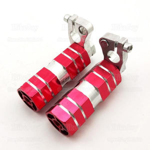 Set Red Aluminium Anodized Lucky 7 Pegs - Pocketbike SA