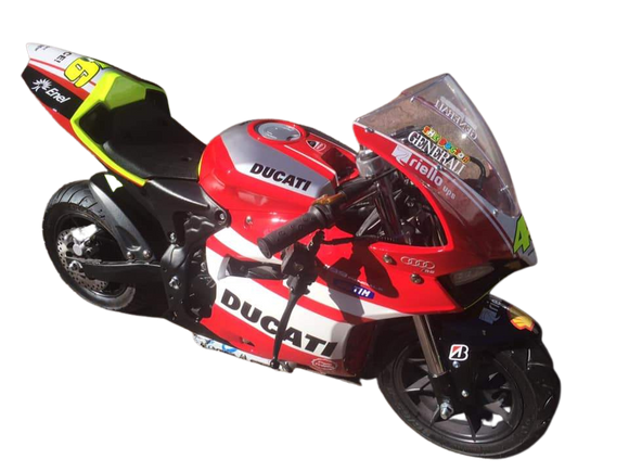 EXCLUSIVE to Pocketbike SA Level Entry #46 Valentino Rossi Ducati Replica 4 Stroke Electric Start 50cc Sport Pocketbike + FREE DELIVERY IN SOUTH AFRICA