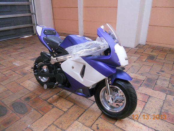 Level Entry 50cc 2 Stroke 3HP Pocketbike Blue/White (KXD Model) FREE DELIVERY NATION WIDE