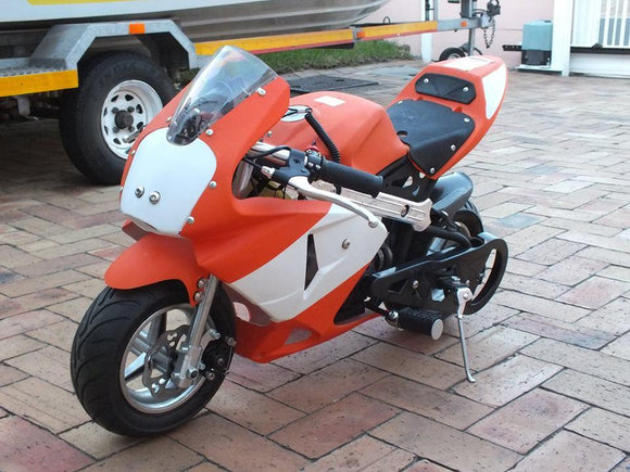 Level Entry 50cc 2 Stroke 3HP Pocketbike Orange / White (KXD Model) FREE DELIVERY NATION WIDE