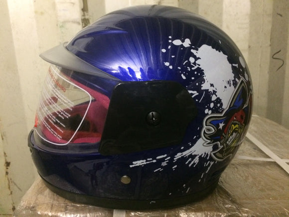 Kiddies Blue Pirate Helmet - Blue - Pocketbike SA