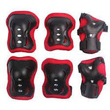 Set Red & Black Knee + Elbow Protectors - Pocketbike SA