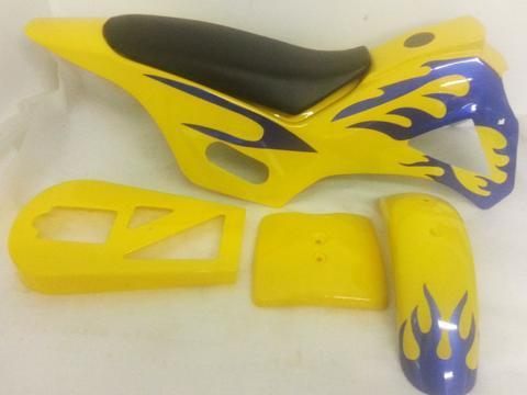 Dirt Bike Fairing Kit - Yellow / Purple - Pocketbike SA