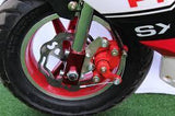 SET Race Red Brake Calipers + Brake Pads - Pocketbike SA