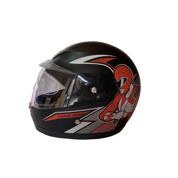 Kids Helmet - Black with Red Power Ranger - Pocketbike SA