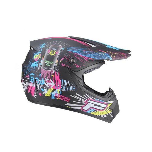 Kids Motocross Helmet - Black / Pink design - Pocketbike SA