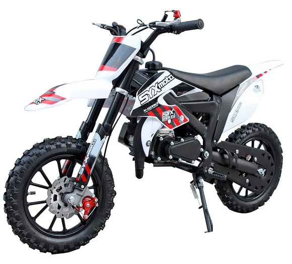 NEW SYX MOTO 2021 Model Level Entry 50cc 2 Stroke 3HP Dirt Bike - Red & White FREE DELIVERY NATION WIDE