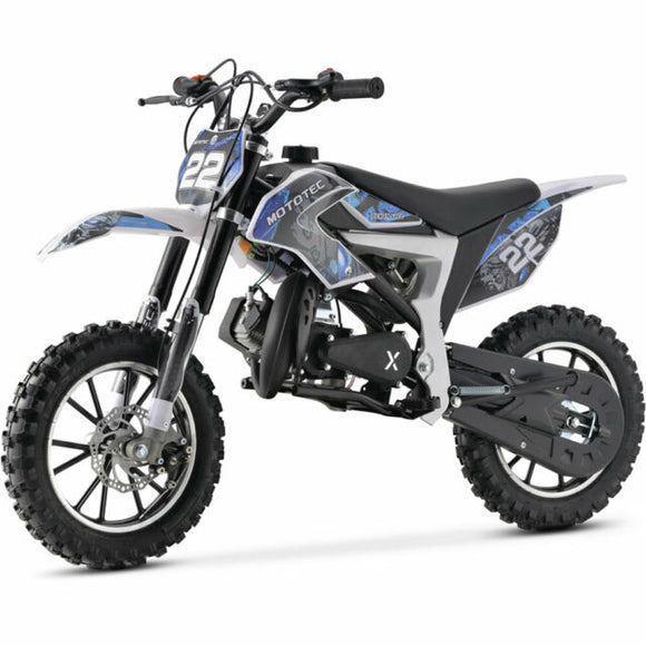 NEW SYX MOTO 2021 Model Level Entry 50cc 2 Stroke 3HP Dirt Bike - Blue & White FREE DELIVERY NATION WIDE