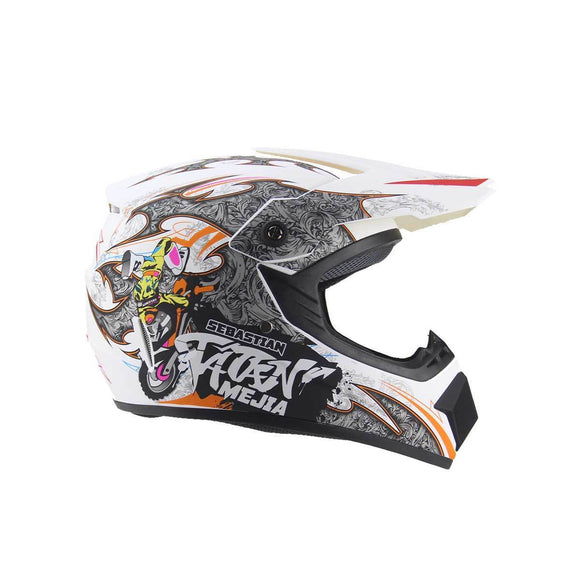 Kids Motocross Helmet - White / Orange Design - Pocketbike SA