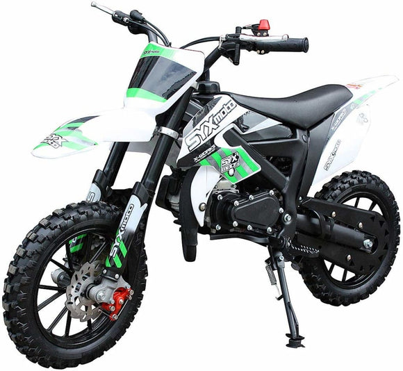 NEW SYX MOTO 2021 Model Level Entry 50cc 2 Stroke 3HP Dirt Bike - Green & White FREE DELIVERY NATION WIDE