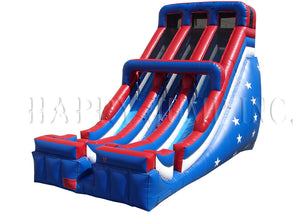 24' Double Lane Slide - Patriotic - SL3161