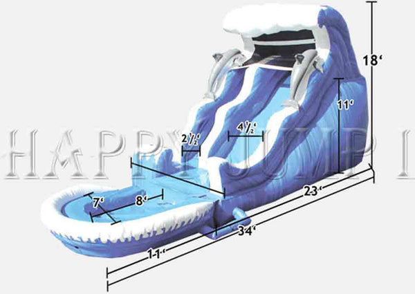 18' Double Drop Wave Slide Pool - WS4120