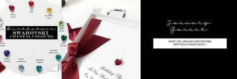 Personalised garnet birthday cards and gifts