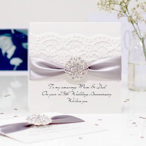 Silver Opulence Luxury 25th wedding anniversary card - theluxeco.co.uk