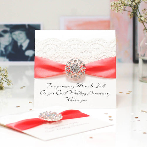 Coral Opulence Luxury 35th wedding anniversary card - theluxeco.co.uk