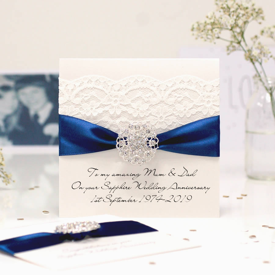 luxury 45th anniversary card for sapphire wedding  the