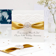 Load image into Gallery viewer, Golden Opulence Luxury 50th wedding anniversary card - theluxeco.co.uk