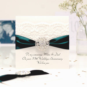 Emerald Opulence Luxury 55th wedding anniversary card - theluxeco.co.uk