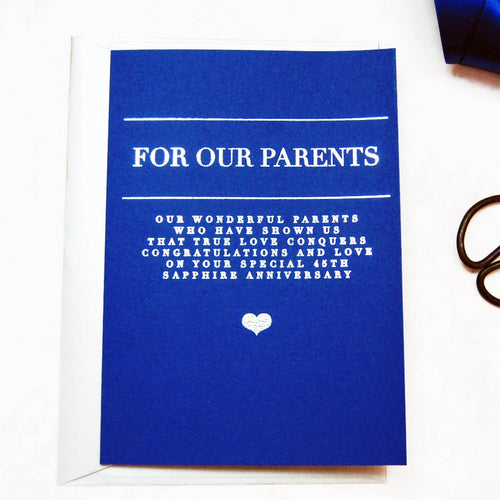 Foiled Heart 45th Wedding Anniversary Card