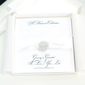 60th anniversary cards - Feather - Diamond ribbon
