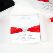 Load image into Gallery viewer, 40th anniversary cards - Feather - Ruby ribbon