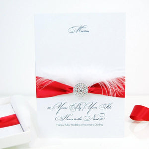 Large 40th anniversary cards - Feather - Ruby ribbon