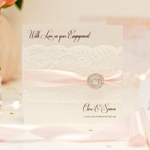 Personalised engagement cards from the Lace & Crystal Collection handmade with lace