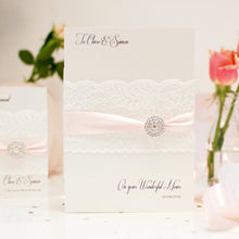 Load image into Gallery viewer, Personalised baby pink wedding card handmade with lace
