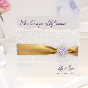 Luxury personalised gold christening card printed with name and christening date from grandma and granddad
