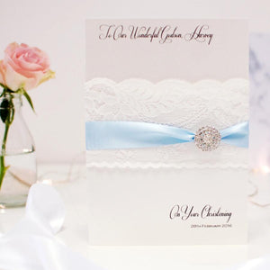 Lace and Crystal First Holy Communion Card