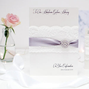 Personalised large christening card can be boxed from the Lace & Crystal Collection