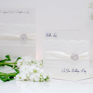 Personalised wedding cards handmade with lace ribbon diamante