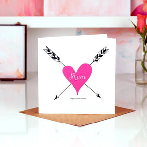 Tattoo heart personalised mothers day card | The Luxe Co