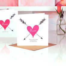 Load image into Gallery viewer, Personalised Mothers Day Cards | Tattoo Heart | The Luxe Co