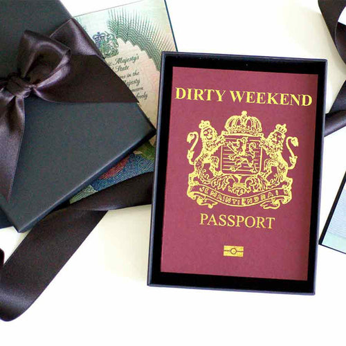 Personalised Dirty weekend away Passport card romantic trips away | The Luxe Co