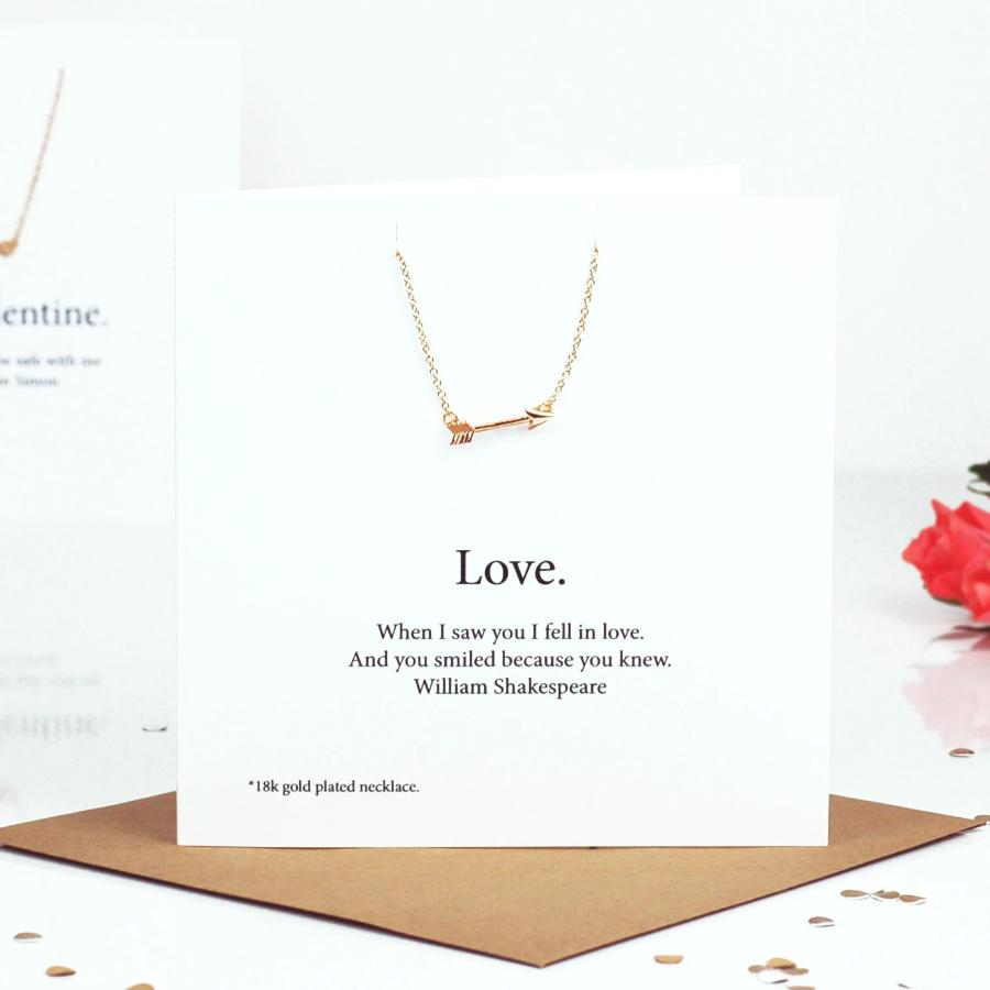 Arrow Through the Heart Necklace Card