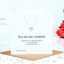 Load image into Gallery viewer, Compass Necklace Card