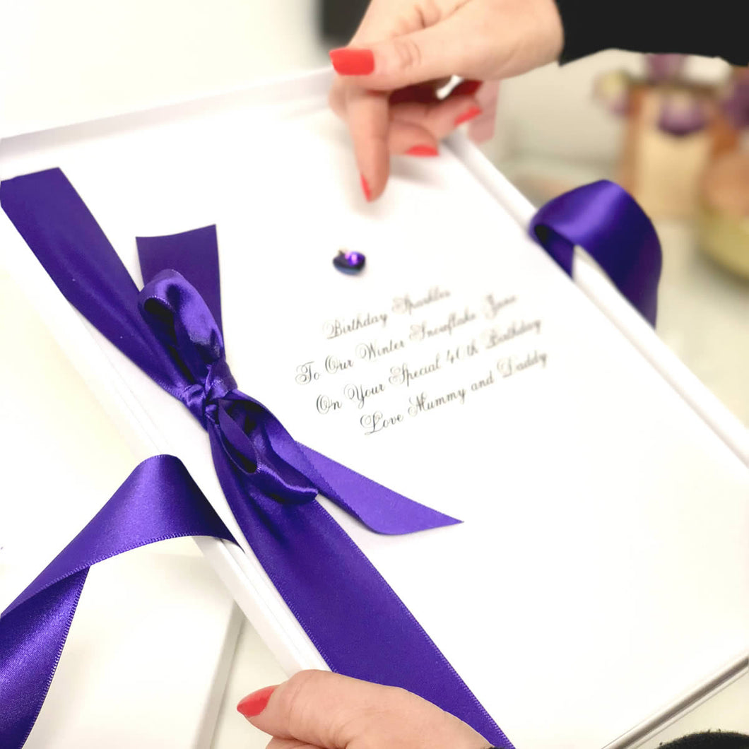 Brilliant amethyst birthstone meaning cards for February birthday | The Luxe Co