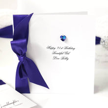 Load image into Gallery viewer, Purple Swarovski crystal amethyst birthstone birthday gift boxed card from The Luxe Co