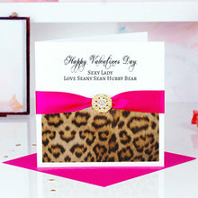 Load image into Gallery viewer, Unique leopard print valentines card | Personalised cards grrrrrrr | The Luxe Co