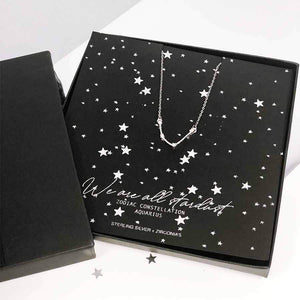 Aquarius star sign constellation jewellery - sterling silver necklace