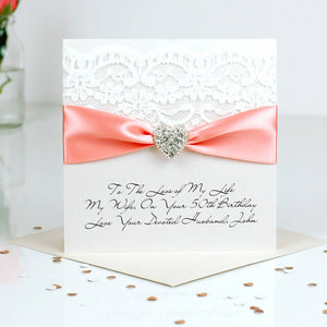 Beautiful Sparkly Heart Birthday card blush pink and silver | The Luxe Co