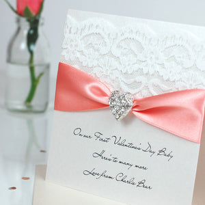 Beautiful heart Engagement card with bling - theluxeco.co.uk