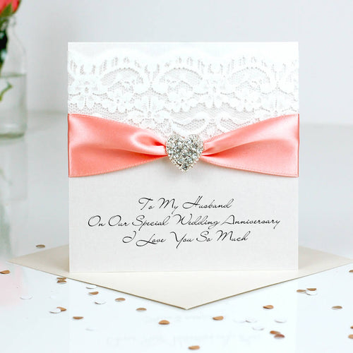 Beautiful Wedding Anniversary card Opulence heart - theluxeco.co.uk