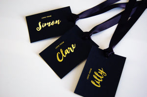 Personalised Luxury Black and Gold Foiled Gift Tags