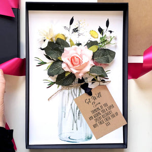 Handmade get well soon scented blush rose bouquet card - theluxeco.co.uk