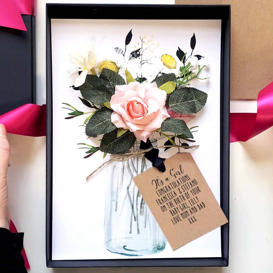Load image into gallery viewer personalised scented new baby flowers bouquet card the luxe