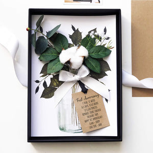 Scented Cotton Flower Boxed Second anniversary Card | The Luxe Co