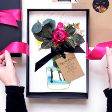 Load image into Gallery viewer, Scented Hot Pink Velvet Rose Anniversary Card