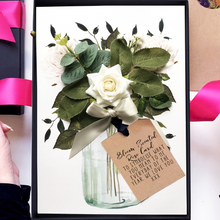 Load image into Gallery viewer, Ivory rose flowers bouquet cards for special anniversaries | The Luxe Co
